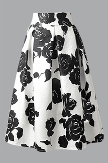 White A-line Midi Skirt In Black Floral Frint