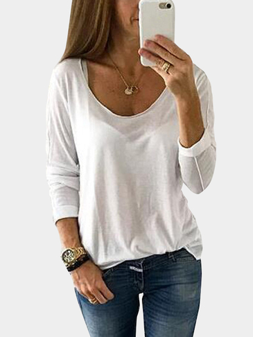 White Scoop Neck Long Sleeves Tee