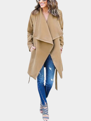 Fashion Lapel Collar Tweed Longline Coat in Khaki