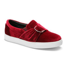 Red Rubber Sole Low Top Velvet Sneakers with Buckle Embellished