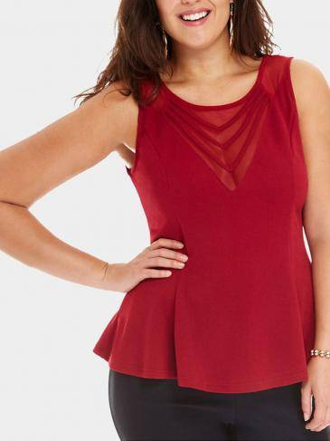 Plus Size Voile Splicing Peplum Vest