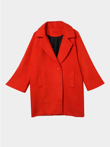 Red Lapel Collar Duster Coat with Side Pocket