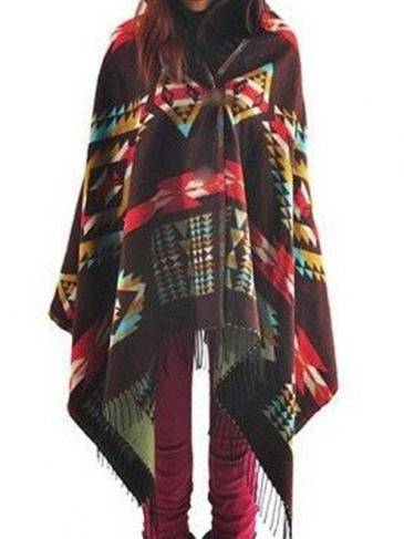 Coffee Fashion Random Color Block Tassel Cape With Hood