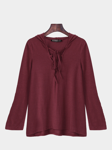 Wine Lace Up Hanky Hem Shirt