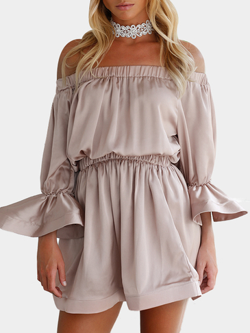 Off-the-shoulder & Ruffle Sleeves Mini Dress in Khaki