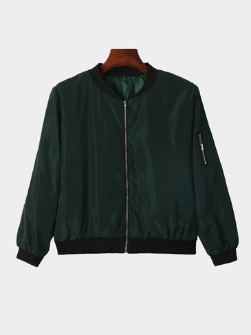 Army Green Fashion Zipper Jacket