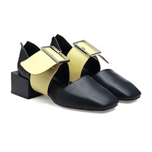 Navy Leather Look Square Heel Slip-on Shoes and Yellow Buckle