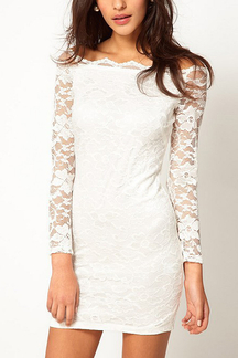 White Off Shoulder Collar All Over Lace Dress