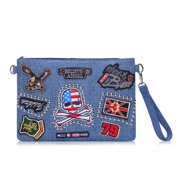 Patched Clutch Bag in Denim