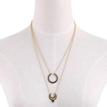 Double Bar and Pendant Layered Necklace