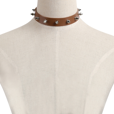 Coffee Rivet Artificial Leather Choker Necklace
