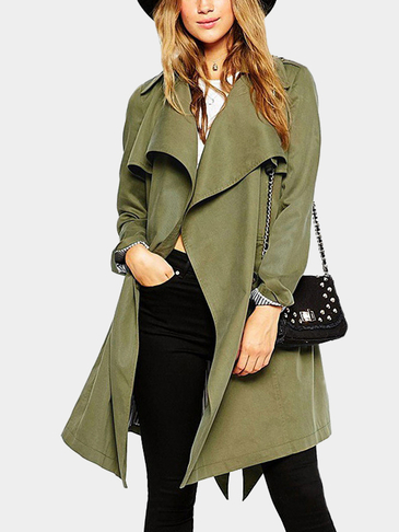 Army Green Lapel Collar Fashion Self-tie Belt Outerwear