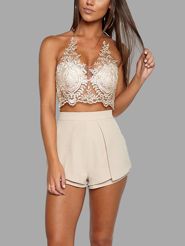 Gold Sexy Gold Thread Bordado Hollow Out Lace Crop Top
