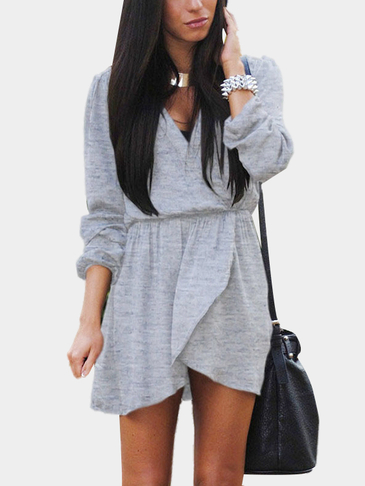 V-neck Long Seeves Elastic Waist Irregular Hem Mini Dress