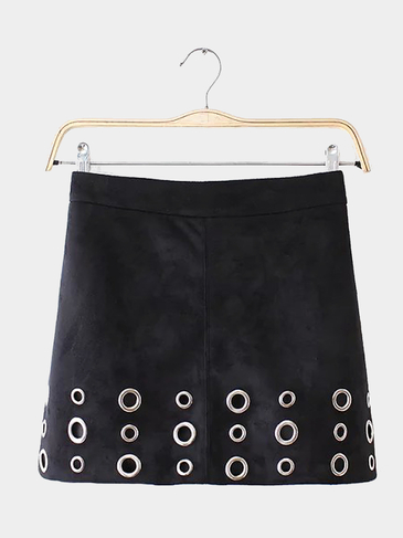 Black High-rise Waist Suede Skirt with Eyelet Detail