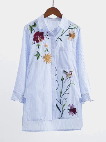 Lapel Neck Flower Pattern Button Stripe Shirt