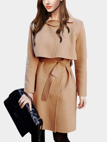Camel Lapel Neck Self-Tie Design Causal Outerwear