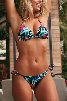 Tease Lace-up Random Printed Bikini Top & Bottoms Set