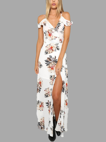 White Random Floral Print Cold Shoulder Splited Dress