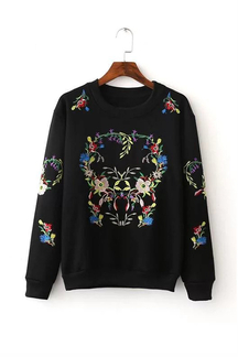Black Random Embroidery Pattern Round Neck Long Sleeves Sweatershirt