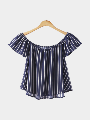 Off Shoulder Stripe Pattern Top