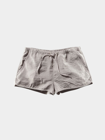 Grey Drawstring Waist Casual Shorts with Side Pockets