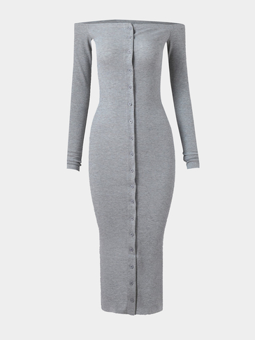 Grey Single Breasted Off Shoulder Casual Midi Bodycon Dress