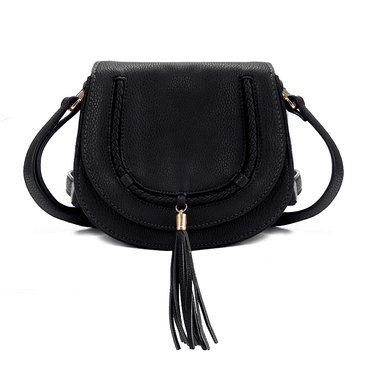 Black Small Shoulder Bag with Tassel Embellished