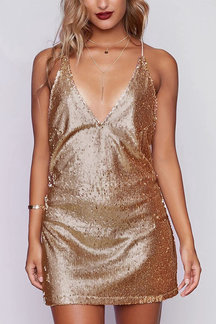 Sparkle Sequins Open-Back Slip Mini Dress in Golden