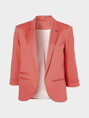 Rose Fashion 3/4 Length Sleeves Open Front Blazer