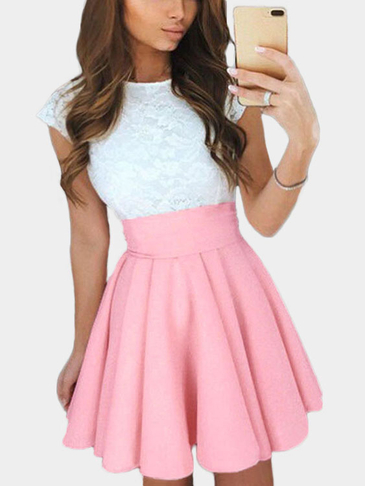Pink Skater High-waisted Mini Skirt With Elastic Band