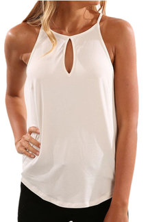 White Sleeveless Design Chest Cut Out Top