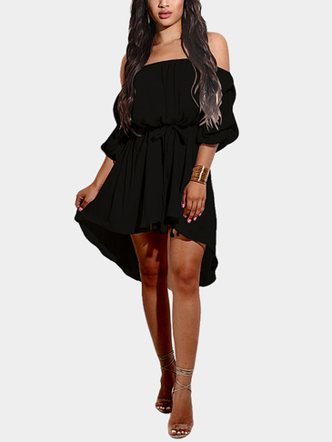 Off-The-Shoulder Curved Hem Mini Dress in Black