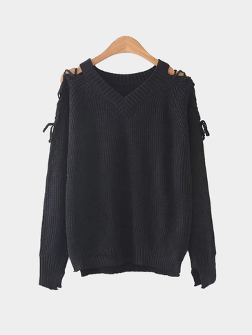 Black V-neck Lace-up Long Sleeves Irregular Hem Sweater