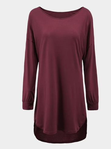 Burgundy Casual Round Neck Curved Hem Dress with Long Sleeves