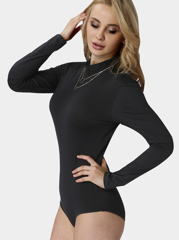 Sexy Black Long Sleeves Open Back Bodysuit