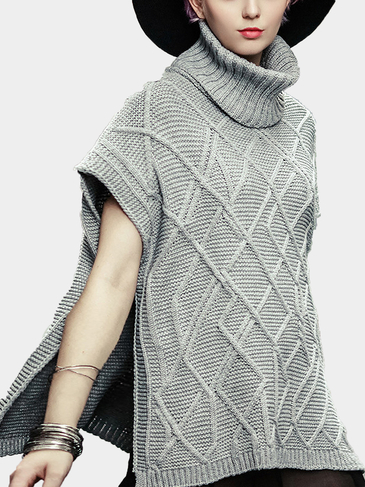 Grey Roll Neck Side Split Knitted Jumper with Rhombus Pattern
