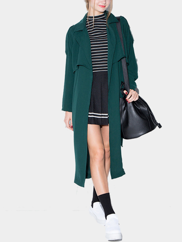 Black Green Longline Duster Coat