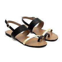 Nero similpelle Strap Oro Toe Looped Sandali piatti