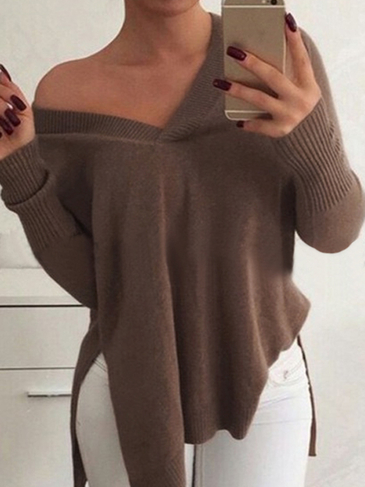 Khaki V-neck Long Sleeves Slit Knit Sweater