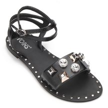 Black Gold-tone Hardware Leather Look Strap Flat Sandals
