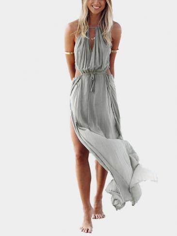 Sleeveless Back Lace-up Side Split Beach Maxi Dress
