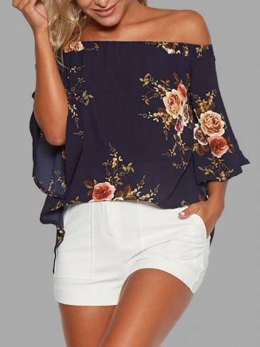 Random Floral Print Off Shoulder Splited Blouse