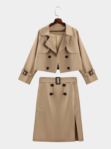Khaki Long Sleeves Trench Coat & Pencil Midi Skirt Suit