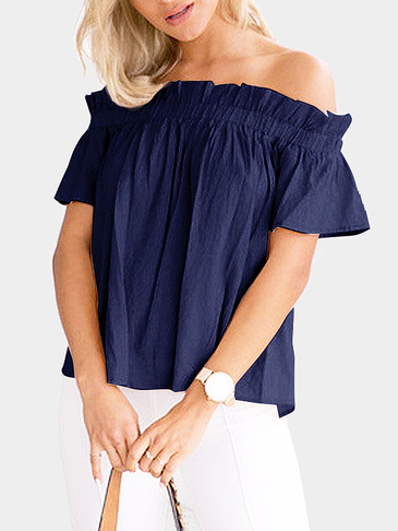 Off-The-Shoulder Frill Design Top in Navy