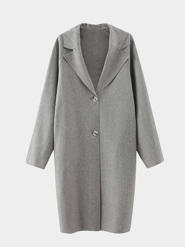 Gris Lapel Coller Raglan Sleeve Duster Coat