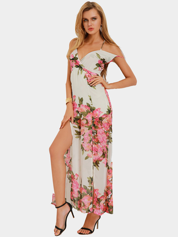 Light Fabric Random Floral V-neck High Waist Maxi Dress