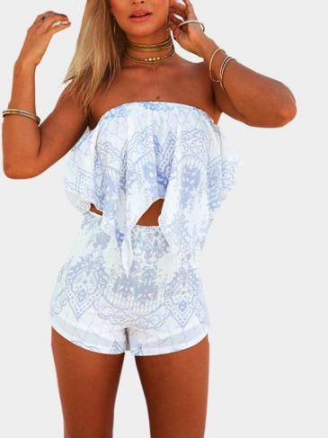 Padrão Vintage Off-shoulder Scallop Hem Top & Highly Shorts Co-ord