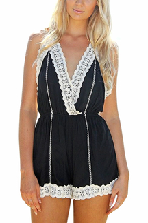 Contrast Black Crochet Trim Cami Playsuit