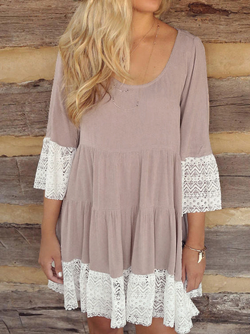 Long Sleeve Round Neck Ruffled Hem Mini Lace Dressess in Brown
